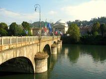 Γέφυρα πέρα από τον ποταμό Po στο Τορίνο, Ιταλία Στοκ Εικόνες