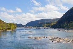 Γέφυρα πέρα από τον ποταμό Shenandoah στο πορθμείο Harpers, δυτική Βιρτζίνια, ΗΠΑ Στοκ εικόνες με δικαίωμα ελεύθερης χρήσης