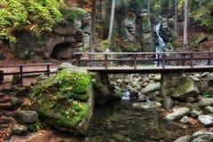 Γέφυρα πέρα από το ρεύμα στο δάσος βουνών Στοκ Εικόνα