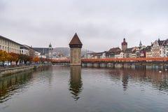 Γέφυρα παρεκκλησιών και ποταμός Reuss, Λουκέρνη Στοκ Εικόνες