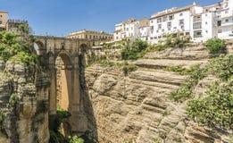 Γέφυρα πετρών Nuevo Puente στην πόλη της Ronda, Ανδαλουσία Ισπανία Στοκ Φωτογραφία