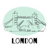 Γέφυρα πύργων, Λονδίνο, Αγγλία, UK συρμένος εικονογράφος απεικόνισης χεριών ξυλάνθρακα βουρτσών ο σχέδιο όπως το βλέμμα κάνει την Στοκ Φωτογραφία