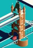 Γέφυρα πύργων του Λονδίνου και διπλό λεωφορείο καταστρωμάτων Στοκ Εικόνα