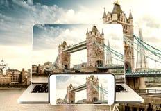 Γέφυρα πύργων φωτογράφισης και εξέτασης, Λονδίνο Στοκ εικόνα με δικαίωμα ελεύθερης χρήσης