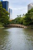 Γέφυρα σε ένα πάρκο στην κεντρική Μπανγκόκ, Ταϊλάνδη Στοκ φωτογραφίες με δικαίωμα ελεύθερης χρήσης
