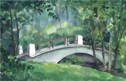 Γέφυρα σε ένα πάρκο, watercolor Στοκ εικόνα με δικαίωμα ελεύθερης χρήσης