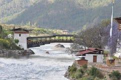 Γέφυρα σε Punakha Dzong στο Μπουτάν Στοκ Εικόνες