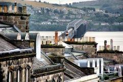 Γέφυρα σιδηροδρόμων Tay από το Dundee στοκ εικόνες