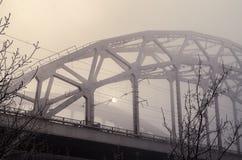 Γέφυρα σιδηροδρόμων στην ομίχλη Στοκ εικόνα με δικαίωμα ελεύθερης χρήσης