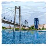 Γέφυρα σταφυλιών ή καλώδιο-μένοντη γέφυρα σε Krasnoyarsk Στοκ φωτογραφία με δικαίωμα ελεύθερης χρήσης