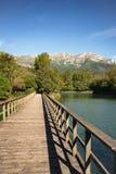 Γέφυρα στη δεξαμενή Valdemurio, Senda del Oso, αστουρίες, Ισπανία στοκ φωτογραφία με δικαίωμα ελεύθερης χρήσης