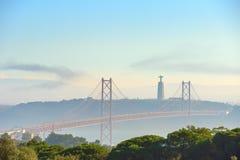 Γέφυρα στις 25 Απριλίου της Λισσαβώνας, Πορτογαλία Στοκ Φωτογραφίες