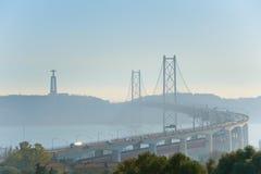Γέφυρα στις 25 Απριλίου της Λισσαβώνας, Πορτογαλία Στοκ εικόνες με δικαίωμα ελεύθερης χρήσης