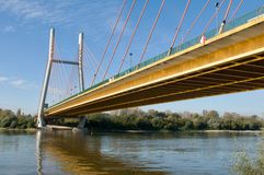 Γέφυρα σχοινιών Siekierowski στο Vistula Στοκ Εικόνες