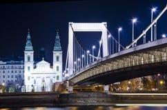 Γέφυρα της Elisabeth τη νύχτα Στοκ Εικόνες