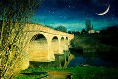 Γέφυρα τη νύχτα, Ρίτσμοντ Στοκ Φωτογραφίες