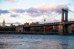 Γέφυρα του Μανχάταν και η πόλη Στοκ Φωτογραφία