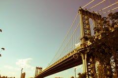 Γέφυρα του Μανχάταν στο εκλεκτής ποιότητας παλαιό ύφος εικόνων στοκ εικόνες με δικαίωμα ελεύθερης χρήσης