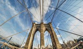 Γέφυρα του Μπρούκλιν στην ευρεία γωνία στοκ φωτογραφία με δικαίωμα ελεύθερης χρήσης