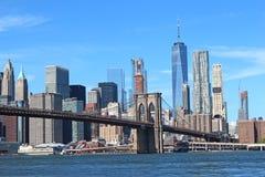 Γέφυρα του Μπρούκλιν στην πόλη της Νέας Υόρκης Στοκ Εικόνα
