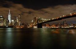Γέφυρα του Μπρούκλιν, άποψη νύχτας Στοκ Φωτογραφίες
