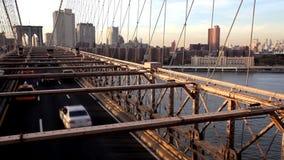 Γέφυρα του Μπρούκλιν στο ηλιοβασίλεμα απόθεμα βίντεο