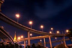 Γέφυρα του φωτός νύχτας Στοκ Εικόνες
