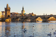 Γέφυρα του Charles με τον αργά το απόγευμα ήλιο, Πράγα, Δημοκρατία της Τσεχίας Στοκ Εικόνες