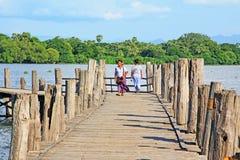 Γέφυρα του U Bein, Myanmar Στοκ Φωτογραφίες