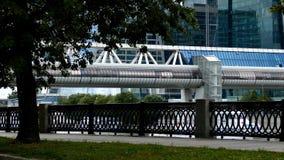 Γέφυρα Bagration και ουρανοξύστες του διεθνούς εμπορικού κέντρου της Μόσχας απόθεμα βίντεο