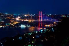 Γέφυρα Bosphorus τη νύχτα Στοκ Εικόνα