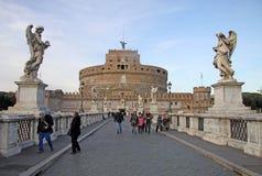 Γέφυρα Castel Sant'Angelo στη Ρώμη, Ιταλία Στοκ Εικόνες
