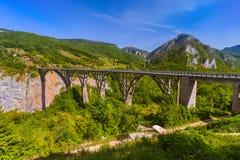 Γέφυρα Durdevica στο φαράγγι της Tara ποταμών - Μαυροβούνιο Στοκ Εικόνες