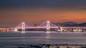 Γέφυρα Gwangandaegyo και περιοχή Haeundae στο ηλιοβασίλεμα, Busan, Νότια Κορέα στοκ εικόνες με δικαίωμα ελεύθερης χρήσης