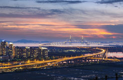 Γέφυρα Incheon στο ηλιοβασίλεμα στοκ εικόνες