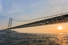 Γέφυρα Kaikyō Akashi στο ηλιοβασίλεμα Στοκ Φωτογραφία