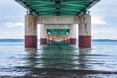 γέφυρα mackinac κάτω Στοκ Φωτογραφίες