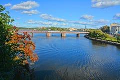 Γέφυρα Petrovsky και δύο λιμάνια σε Vyborg, Ρωσία στοκ εικόνες με δικαίωμα ελεύθερης χρήσης
