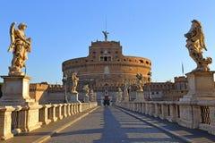 Γέφυρα Ponte αγγέλων Sant Angelo Castle Bernini Castel Στοκ Εικόνες