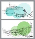 Γέφυρα Rialto και νησί Lido, σκίτσο της Βενετίας Στοκ εικόνα με δικαίωμα ελεύθερης χρήσης