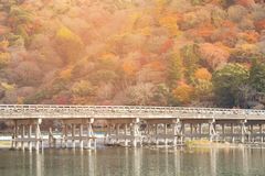 Γέφυρα Togetsukyo, Arashiyama, Κιότο, Ιαπωνία Στοκ Φωτογραφία