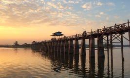 Γέφυρα Ubein, Mandalay, το Μιανμάρ Στοκ Εικόνα