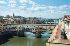 Γέφυρα Vecchio Ponte πέρα από τον ποταμό Arno, Φλωρεντία Στοκ Εικόνες