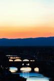 Γέφυρα Vecchio Ponte στο ηλιοβασίλεμα Στοκ Εικόνες