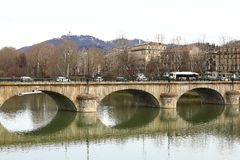 Γέφυρα Vittorio Emanuele I, ποταμός Po, Τορίνο, Ιταλία Στοκ φωτογραφίες με δικαίωμα ελεύθερης χρήσης