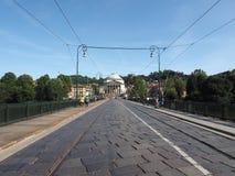 Γέφυρα Vittorio Ponte και εκκλησία Gran Madre στο Τορίνο Στοκ Φωτογραφίες