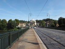 Γέφυρα Vittorio Ponte και εκκλησία Gran Madre στο Τορίνο Στοκ φωτογραφία με δικαίωμα ελεύθερης χρήσης