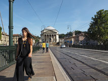 Γέφυρα Vittorio Ponte και εκκλησία Gran Madre στο Τορίνο Στοκ Εικόνες