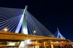 Γέφυρα Zakim τή νύχτα Στοκ Εικόνες
