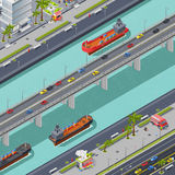 Γέφυρες στη Isometric σύνθεση πόλεων απεικόνιση αποθεμάτων